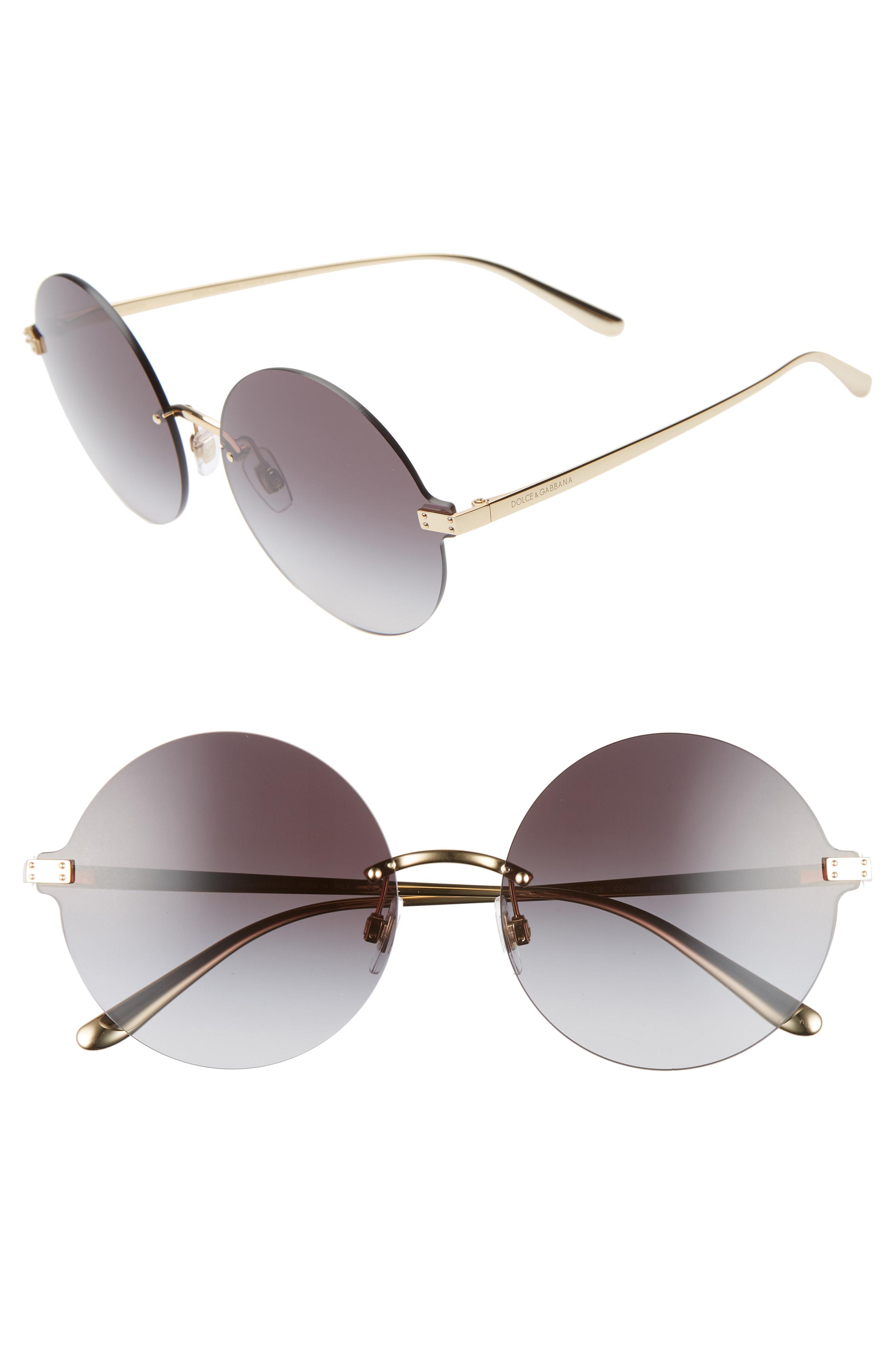 ff67da267379 Dolce & Gabbana 62Mm Oversize Gradient Rimless Round Sunglasses - Gold/  Black
