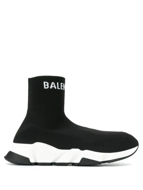 Balenciaga Speed Stretch-Knit High-Top Sneakers In Black