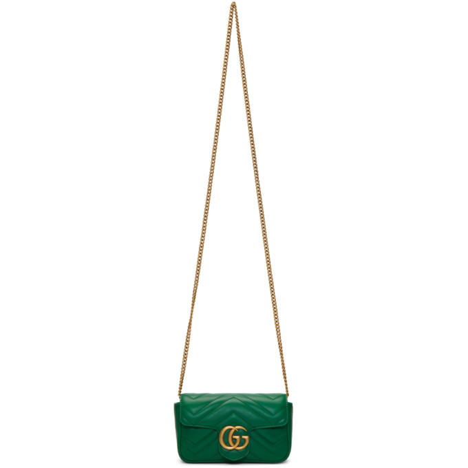 02af7413a34c60 Gucci Green Super Mini Gg Marmont Chain Bag In 3120 Emeral | ModeSens