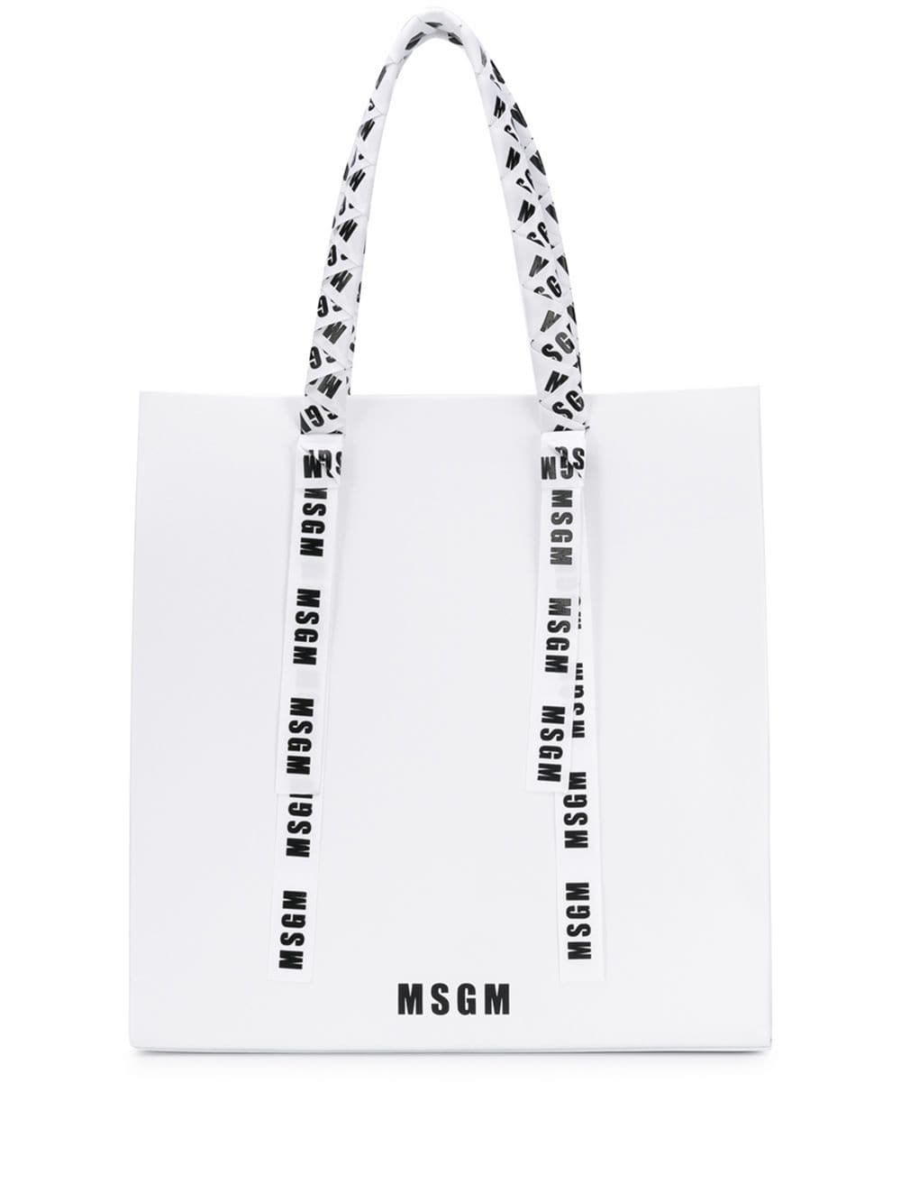 87e5dc16ea Msgm Logo Ribbon Tote Bag - White