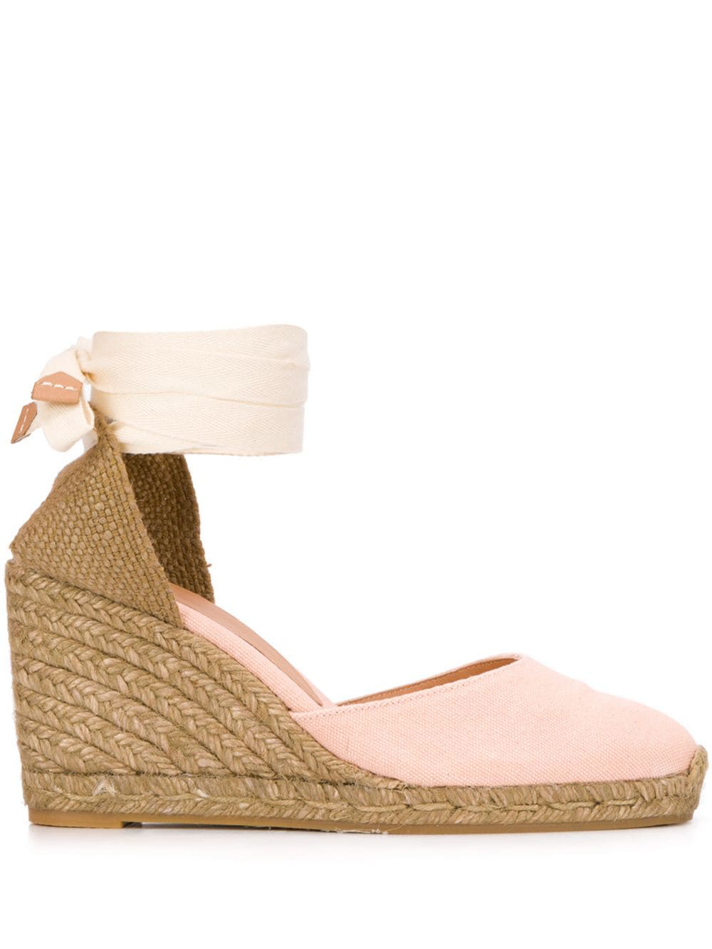 1b0a785335c5 Pink and beige cotton Carina wedge espadrilles from Castañer featuring a  round neck