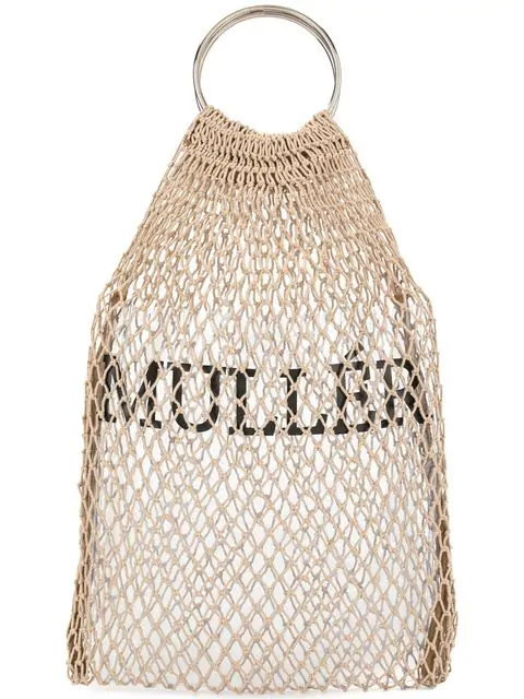 Muller Of Yoshiokubo Fishnet Logo Mini Bag In Neutrals