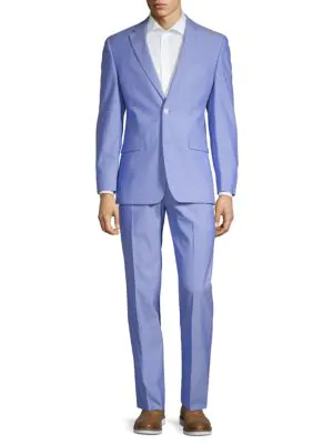 Tommy Hilfiger Regular Fit Stretch Chambray Suit In Blue