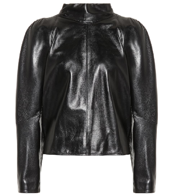 Isabel Marant Caby Leather Mock Neck Blouse In Black