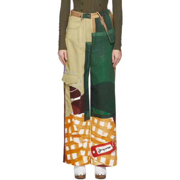 Jacquemus High-waisted Wide-leg Patchwork Cargo Pants In Print