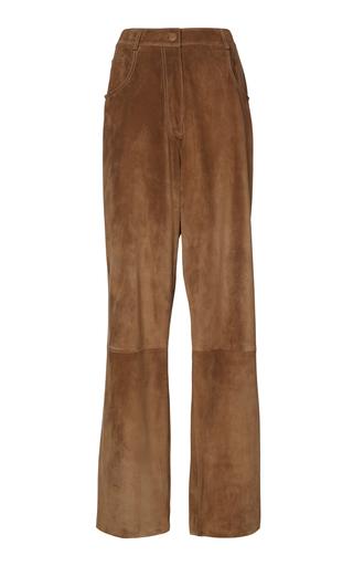 Agnona Suede Wide-leg Pants In Brown