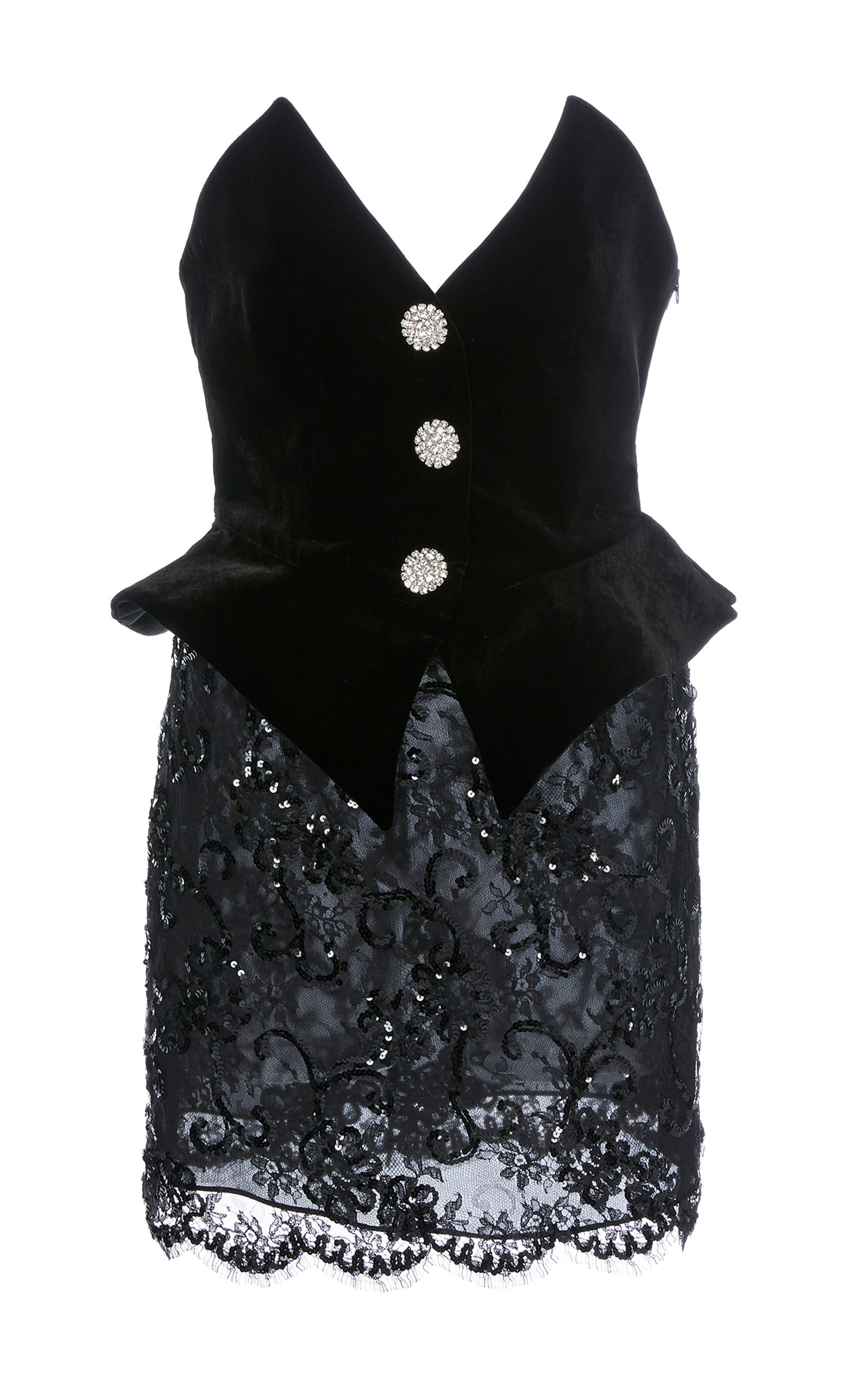 6f757f0ec910 ALESSANDRA RICH. Sequinned Velvet And Lace Bustier Mini Dress in Black