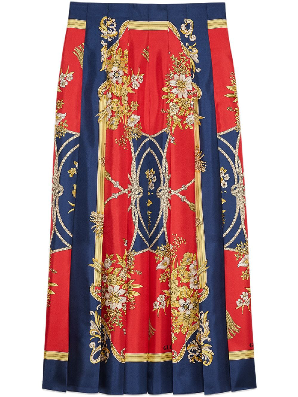 bde1e027a124 Gucci Silk Skirt With Flowers And Tassels Print In Red   ModeSens