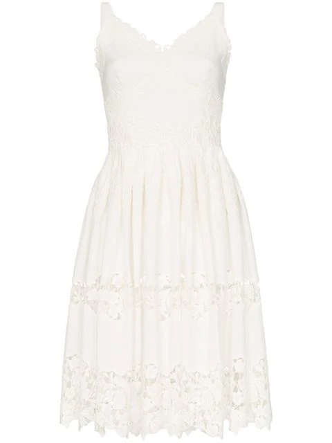 Dolce & Gabbana Floral Embroidered Cutout Midi-dress In White