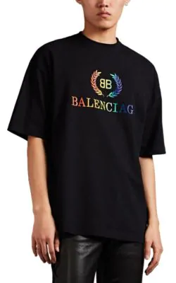 Balenciaga Laurier Logo-Print Cotton-Jersey T-Shirt In Black