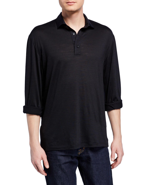 9e39d362a0 Men's Lightweight Wool Long-Sleeve Polo Shirt, Navy