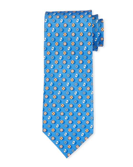 Salvatore Ferragamo Circular Pattern Silk Tie, Blue