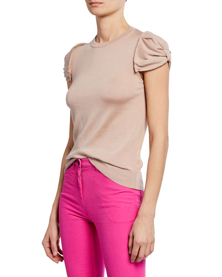 N°21 Crewneck Ruched-Sleeve Shirt In Pink