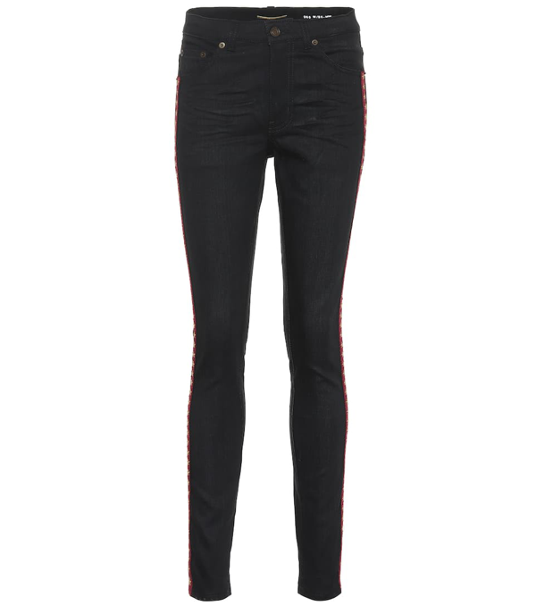 Saint Laurent Embroidered Cotton Skinny Jeans In Used Black