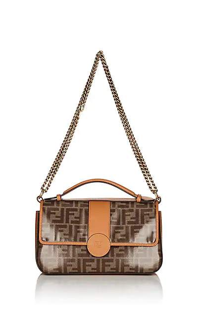 "Fendi ""Double F"" Coated Canvas & Leather Shoulder Bag - Tan"