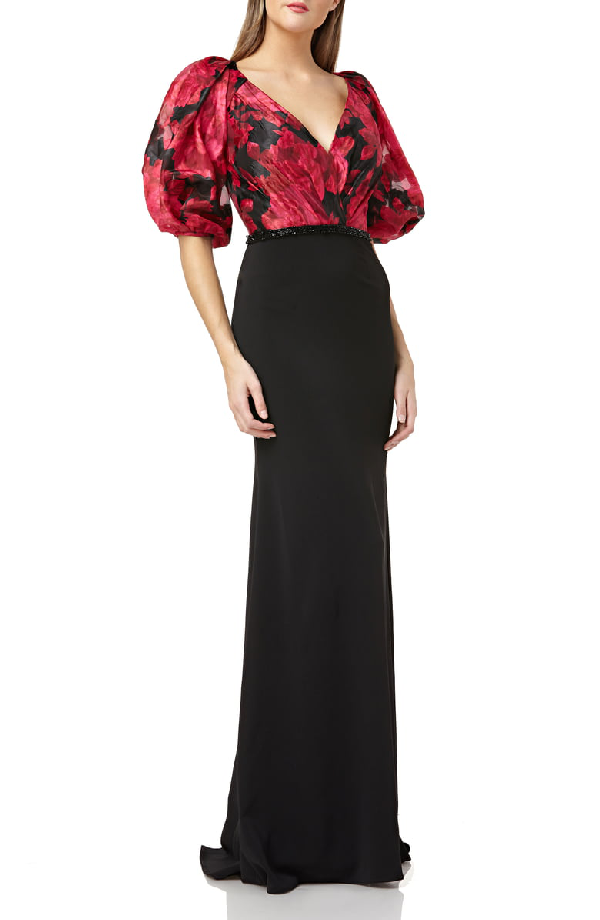 2296cdac7588 Carmen Marc Valvo Infusion Printed-Bodice Puff-Sleeve V-Neck Gown ...