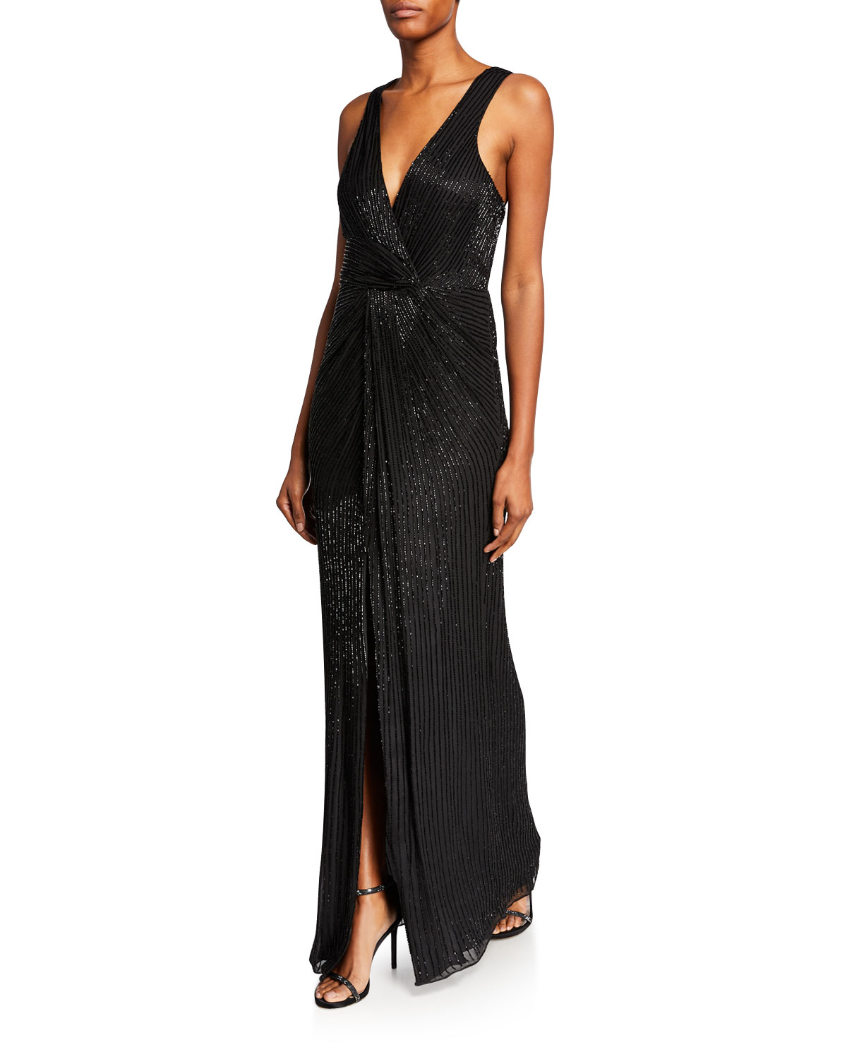 31ca48dee89 Parker Monarch Sequin V-Neck Sleeveless Gown In Black