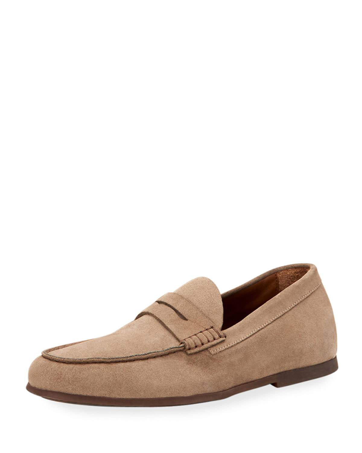 5c479be4c73 Aquatalia loafers shoes in suede. Round apron toe. Penny keeper strap  across vamp. Slip-on style. Leather lining. Rubber sole. Leather padded  insole.
