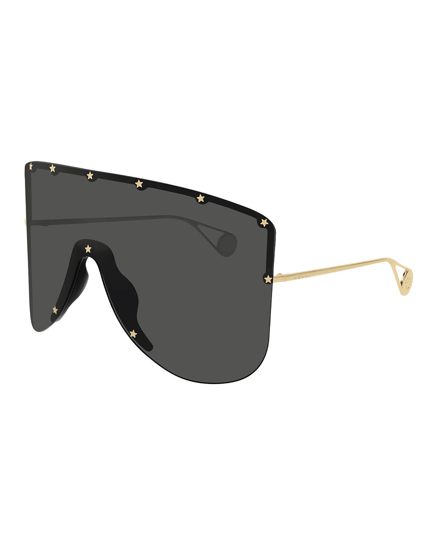 acc50f612785e Gucci Rimless Shield Sunglasses W  Star Studs In Gold Yellow