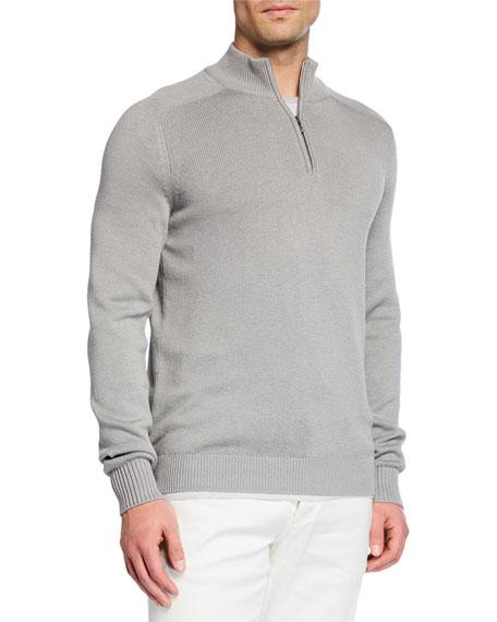 Loro Piana Men's Silk-blend Quarter-zip Sweater In Gray