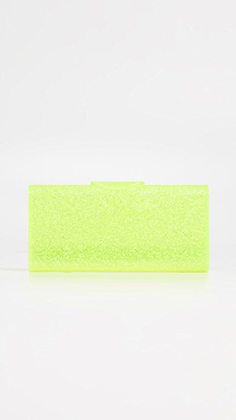 Edie Parker Lara Solid Clutch In Yellow Crystalina Confetti
