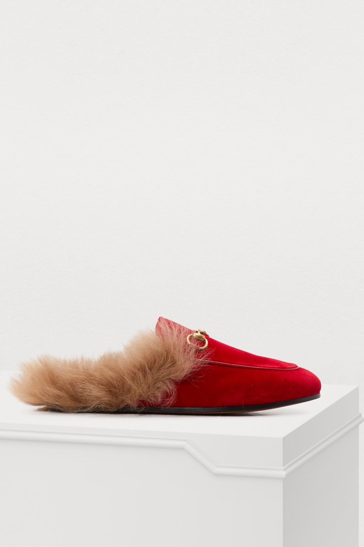 02b11a7ac1e Gucci Princetown Velvet Slipper In Red