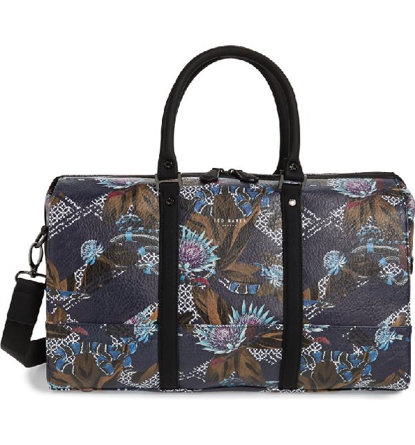 Ted Baker Zillion Printed Pu Holdall In Navy