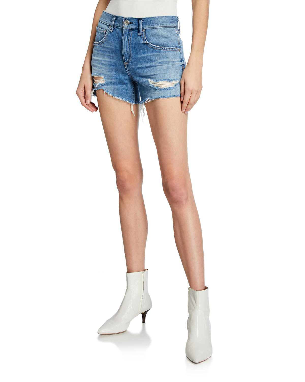 Rag & Bone Dre Low-rise Distressed Shorts In Bishop With Holes