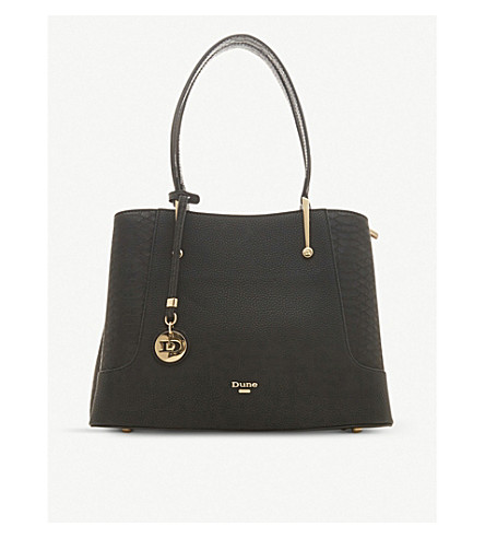 Dune Dorriss Faux-Leather Tote Bag In Black-Plain Synthetic