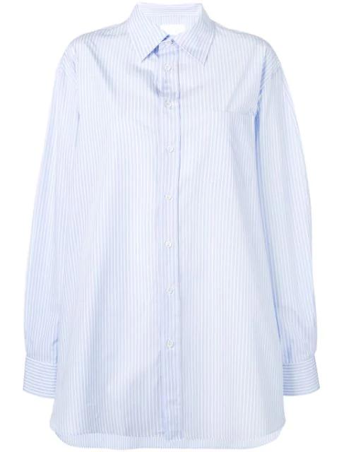 Maison Margiela Pinstripe Oversized Shirt In Blue