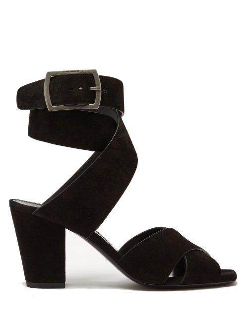 Saint Laurent Oak Cross-Over Strap Suede Sandals In Black