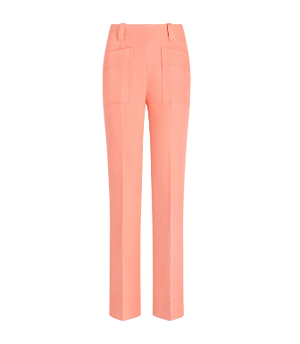 Tory Burch Double Weave Cotton Pant In Sunrise Coral