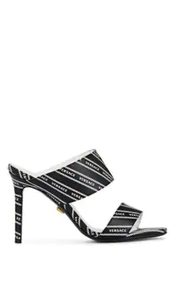 Versace Logo-Print Leather Mules In Black