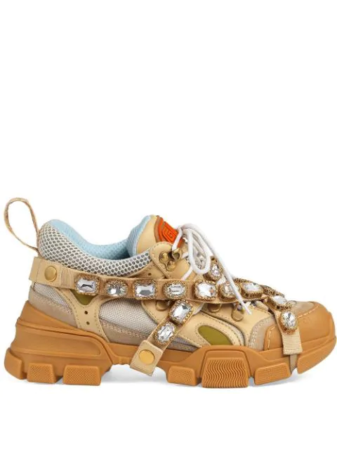 Gucci Women's Flashtrek Sneaker With Removable Crystals In 9069 M.w/oa