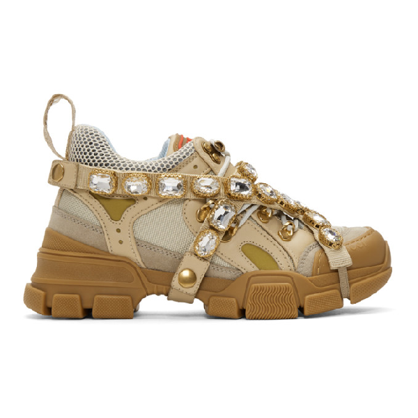 96ecd36b8f7 Gucci Flashtrek Crystal-Embellished Panelled Trainers In 9069 M.W/Oa ...