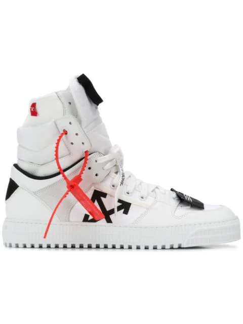 Off-White Off Court Leather Hi-Top Trainers In White