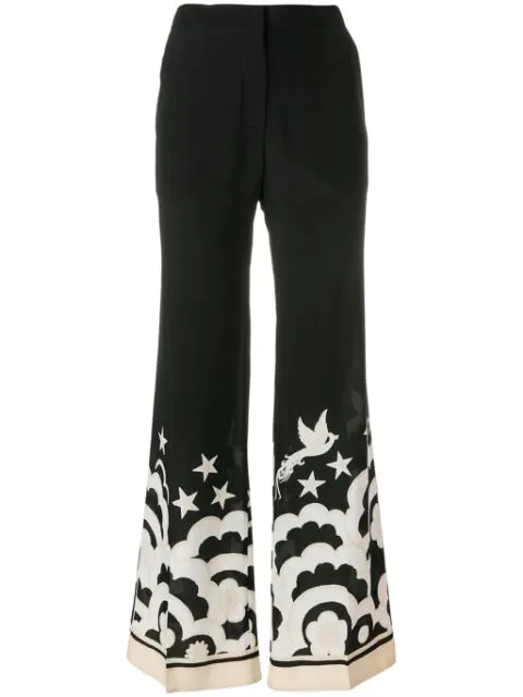 Valentino Contrast Print Wide Leg Trousers In Black
