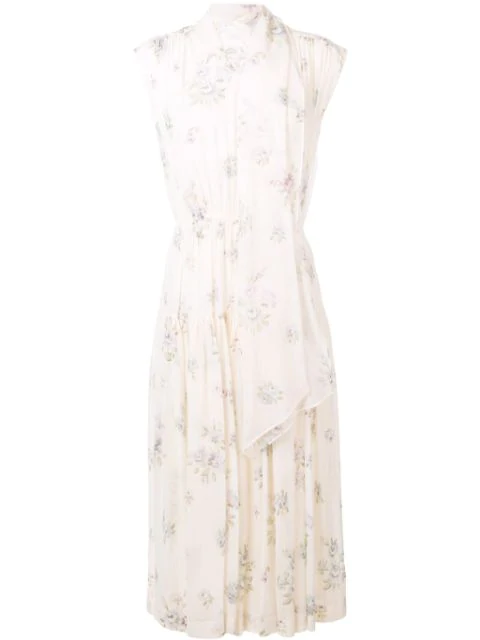 Joseph Floral Midi Dress In Neutrals