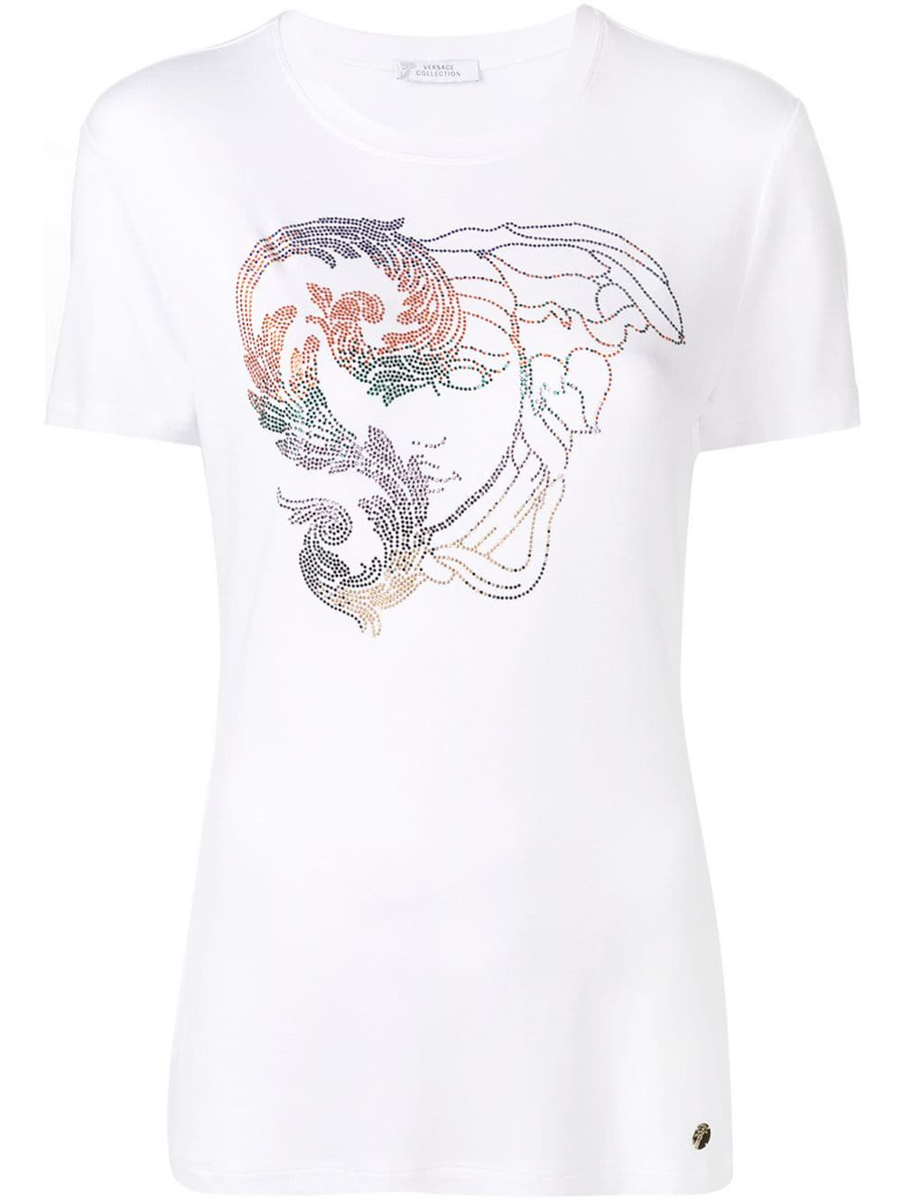 43444db3 Versace Collection Medusa Head Crystal-Embellished T-Shirt - White ...