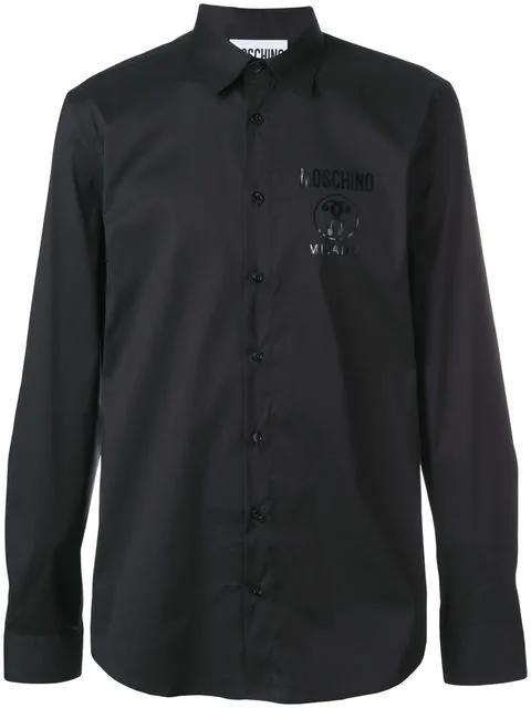 Moschino Logo Print Shirt In Black