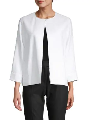 Max Mara Paola Linen Topper Jacket In Optical White