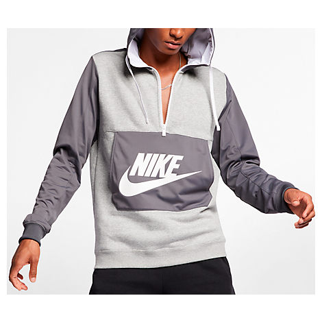 Nike Men's Sportswear Hybrid Half Zip Hoodie In White Grey Size Medium Cotton100% Polyester