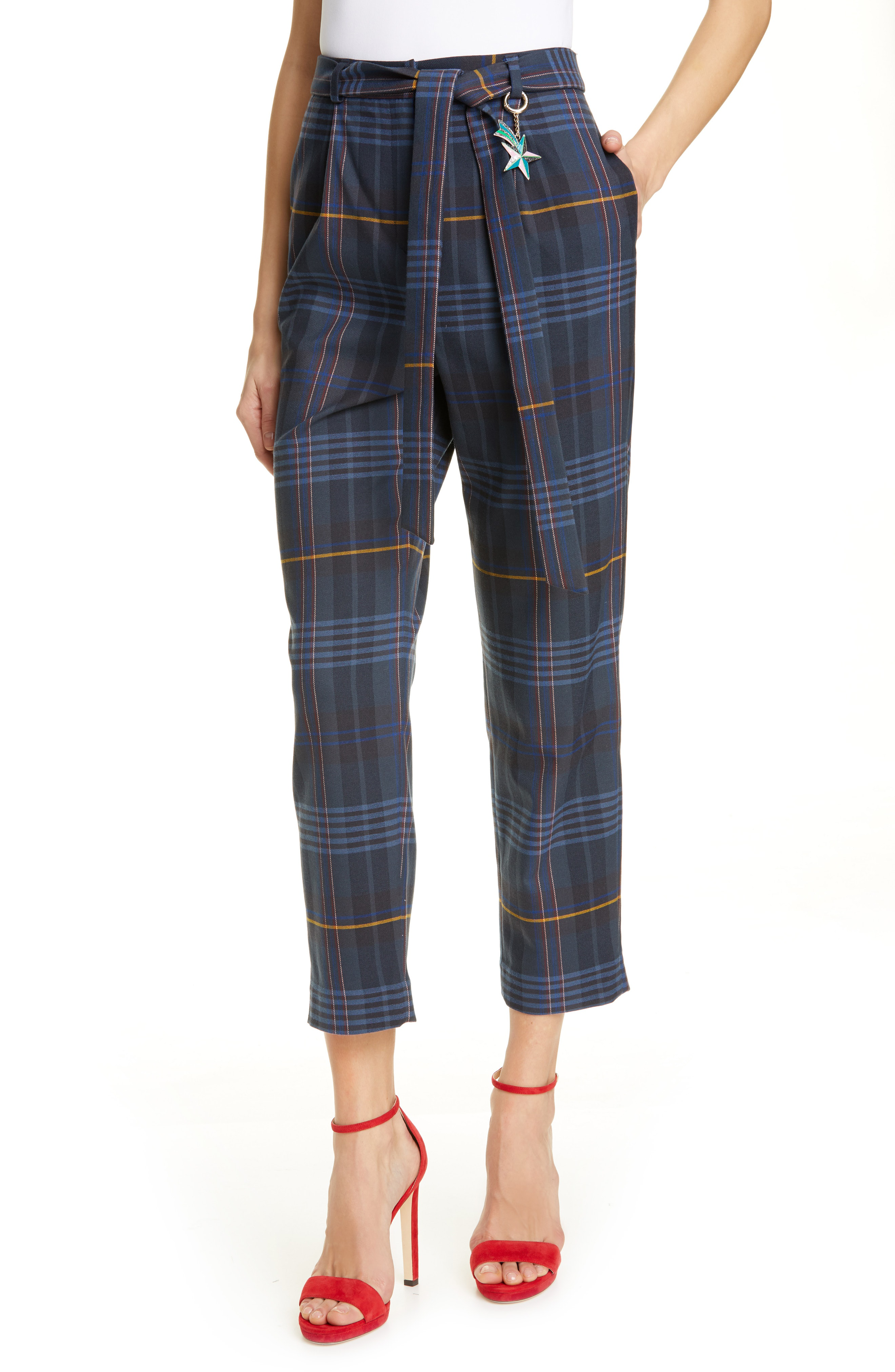 248940a084a31b Ted Baker Colour By Numbers Carrie Check Crop Pants In Navy | ModeSens