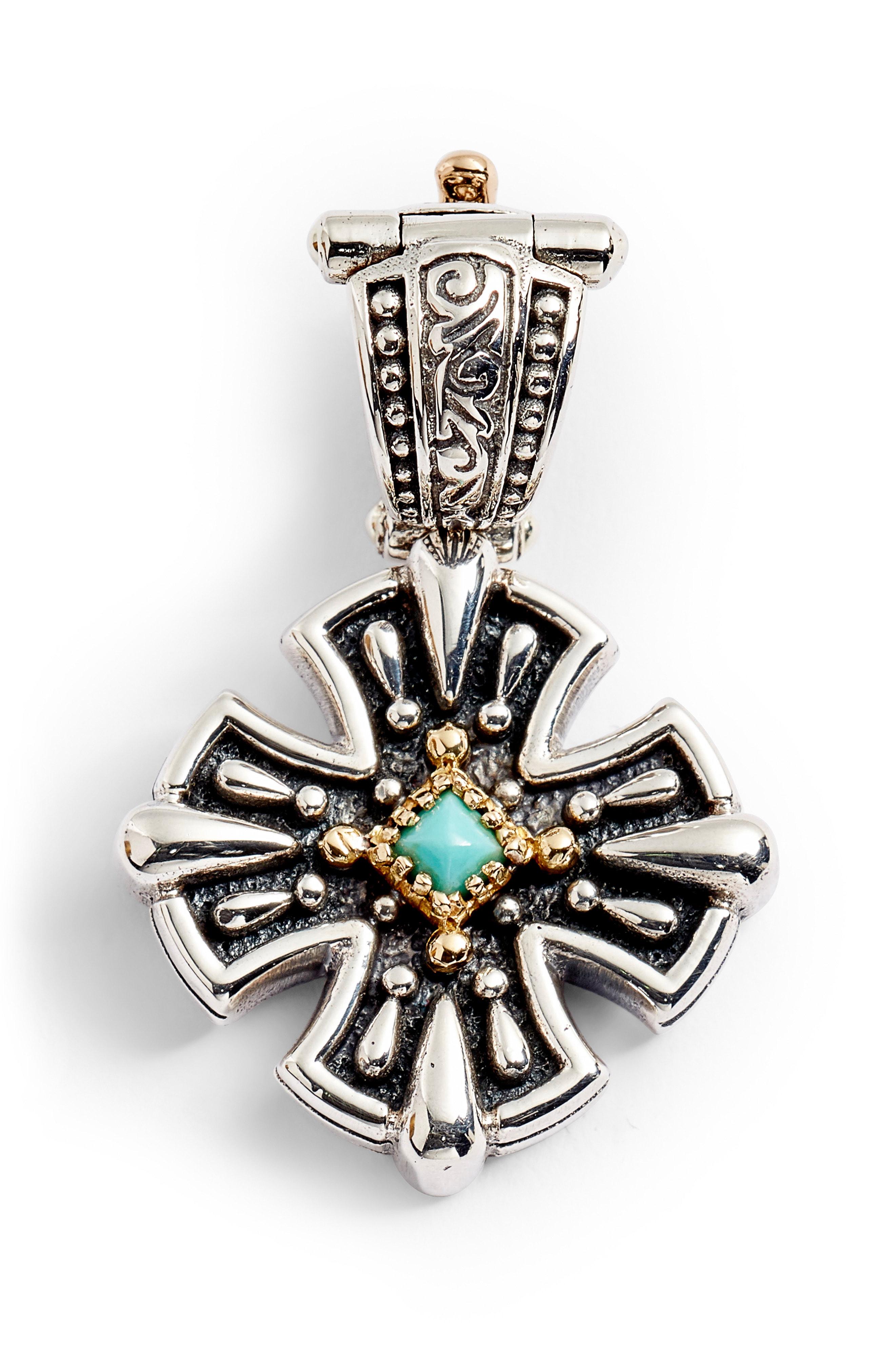 Konstantino Trillion Small Stone Cross Pendant In Silver/ Gold/ Turquoise