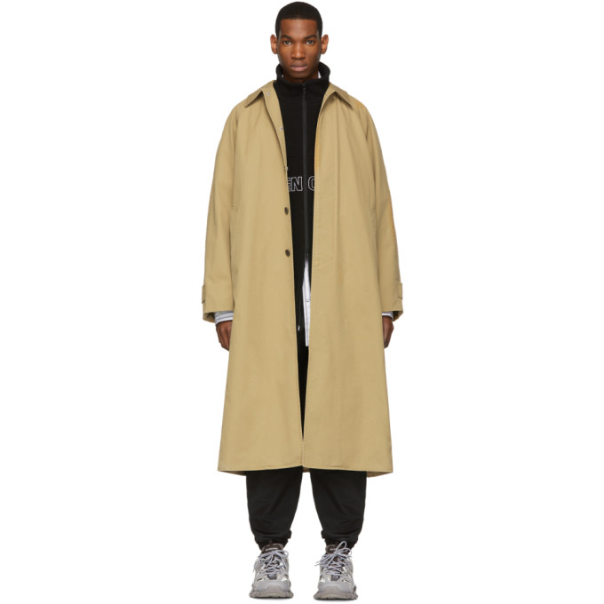Balenciaga Beige Long Opera Car Coat In Sahara
