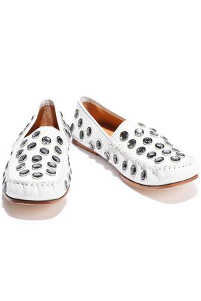Acne Studios Woman Jackson Crystal-Embellished Leather Loafers White