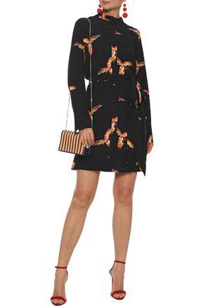 Diane Von Furstenberg Woman Belted Printed Silk Mini Dress Black