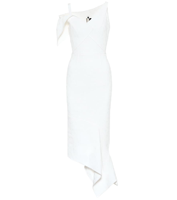 Roland Mouret Rotsea Floral Waffle-knit Dress In White