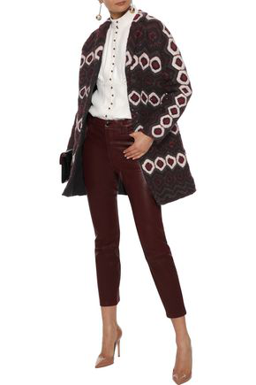 Valentino Woman Sequin-Embellished Jacquard-Knit Coat Burgundy