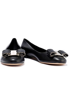 Salvatore Ferragamo Woman Varina Bow-Embellished Leather Ballet Flats Black